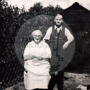 Mr & Mrs Robinson, the parents of Mrs Minnie Perkins, c.1950s. Mr Robinson had been Sir Herbert Leon's valet. Illustrative photograph supplied by kind permission of BCHI (Accession Ref: BLE/P/522). Original donated by Bletchley Park.