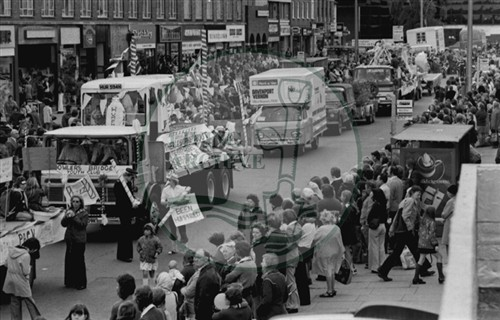 Carnival, Bletchley Town Centre, 1975. Illustrative photograph supplied by kind permission of BCHI (Accession Ref: BLE/P/1849).