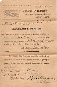 Albert Verney Thurlow's Dependants Pension
