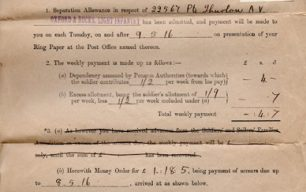 Separation Allowance form for Private Albert Verney Thurlow