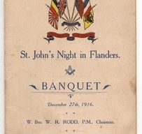 Menu card for a St John's Night in Flanders banquet