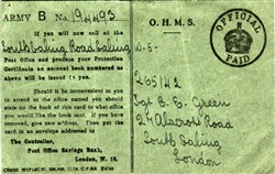 Army B Card from The Post Office Savings Bank to Sergeant C E Green