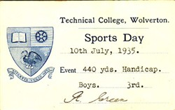 Sports Day Card from Technical College, Wolverton 440 Yards. Handicap. Boys