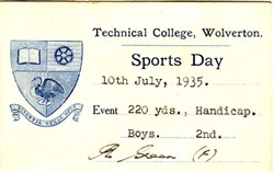 Sports Day Card from Technical College, Wolverton. 220 Yards. Handicap. Boys