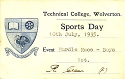 Sports Day Card from Technical College, Wolverton. Hurdle Race - Boys