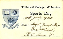 Sports Day Card from Technical College, Wolverton. High Jump, Boys