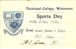 Sports Day Card from Technical College, Wolverton. Sack Race - Boys
