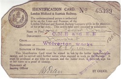 London Midland & Scottish Railway Identification Card for Charles Edward Green