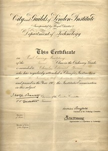City & Guilds of London Institute Department of Technology Certificate in Rail Carriage Building for Charles Edward Green