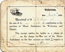 Contribution Receipt to C E Green from Wolverton Motor Ambulance
