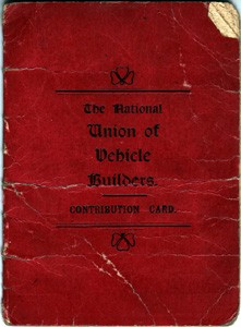 The National Union of Vehicle Builders Contribution Card -Red