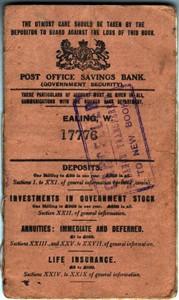 Post Office Savings Bank Book for E B A Axten