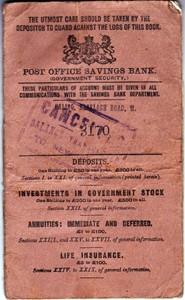 Post Office Savings Bank Book for C E Green