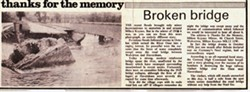 Newspaper Article from the Milton Keynes Mirror. Thanks for the memory Broken Bridge