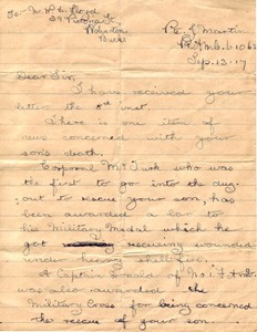 Letter from Private John Martin to Mr W.H. Lloyd.