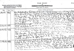 Copy of a page from a war diary.