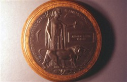 Slide of World War One memorial plaque.
