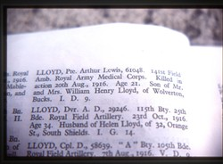 Slide of a book page showing an entry on Private Arthur Lewis Lloyd.