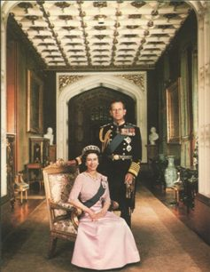 Postcard of the Queen with the Duke of Edinburgh