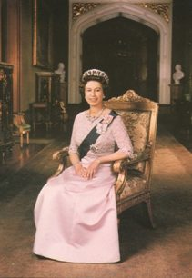 Postcard of the Queen seated