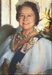 Profile photograph of The Queen Mother on a postcard