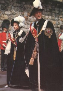 Postcard of the Queen with the Duke of Edinburgh at the Garter Ceremony, Windsor Castle