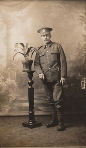 Photographic postcard of Sapper Edwin Butler in uniform