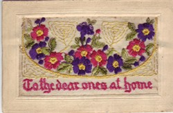 Embroidered Card 'To the dear ones at home'