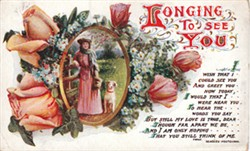 Postcard, 'Longing to see you' sent to Albert Mander in France by Nellie