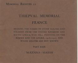 Commonwealth War Graves Commission Memorial Register 21 Thiepval part XXIX