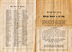 Programme for Dedication of Wolverton WWI Memorial to the Fallen