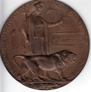 First World War Memorial Plaque dedicated to Albert Mander