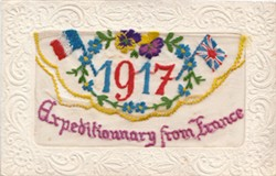 Embroidered postcard 'Expeditionary from France'