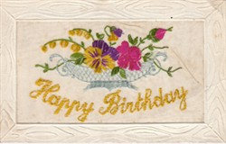 Embroidered postcard 'Happy Birthday'