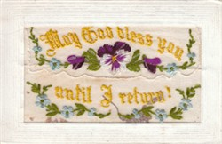 Embroidered Postcard 'May God Bless You Until I Return!'