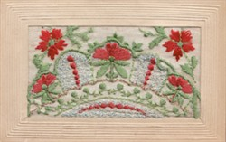 Embroidered postcard  of poppies