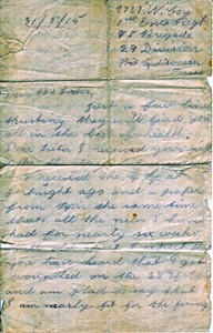 Letter from George Mumford to his Sister Annie Marie