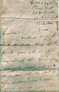 Letter from George Mumford to his sister Sally