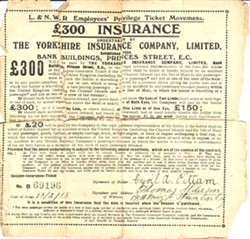 L&NWR Employees Insurance Certificate for Cyril A Pittam