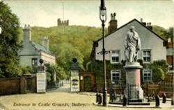 Photographic postcard 2entrance to Castle Grounds, Dudley