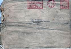 White envelope addressed to Mr E Williams
