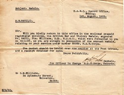 Letter regarding the return of medals