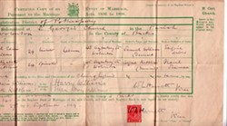 Marriage Certificate for Samuel Edwin Williams and Lily Elizabeth Kettless