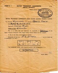 British Railways Transport Commission (Male Wages Grades) Pension Scheme acceptance letter form C.1