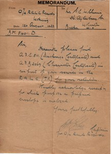 Memorandum regarding discharge papers