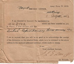 1914 Star delivery notice Army Form W 5112