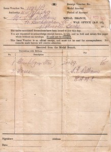 War Office receipt voucher for medals  Voucher No 1196/B Authority NW/9/4549