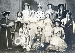 Three black and white photographs of people in fancy dress at various fetes.