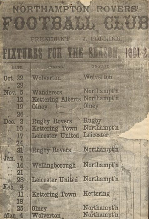 Fixtures List Northampton Rovers Football Club, 1881-82