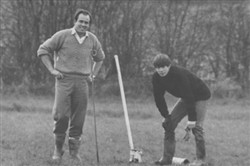 Norman and David line marking at the Windsor Street ground